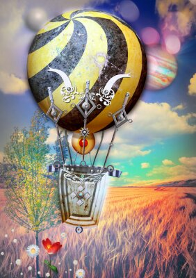 Canvas print Corn fied and tree with steampunk hot air balloon