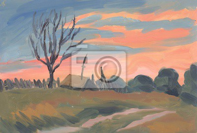 Canvas print Country landscape. Oil painting