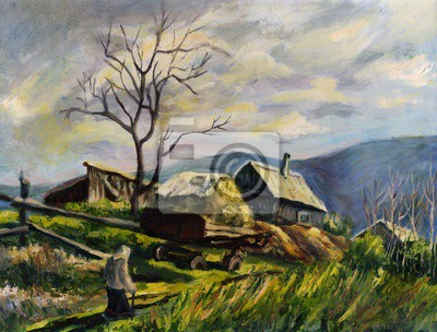 Country landscape. Oil painting