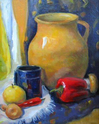 country still life with vegetables, oil painting