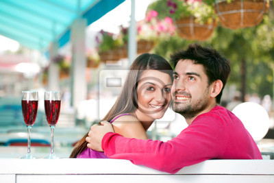 couple in love in a summer cafe