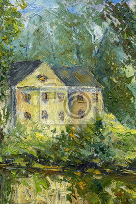 cozy house among green trees and bushes - summer landscape - oil painting and palette knife, impasto close-up impressionism illustration.