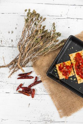 Canvas print Cracker with roasted peppers, chili pepper and oregano