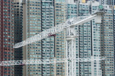 Canvas print Crane in construction site