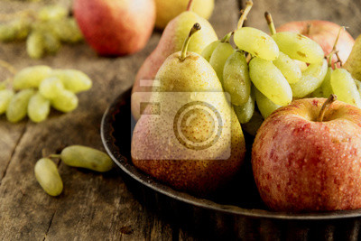 Crop Plate with pears and apples. Autumn fruits.