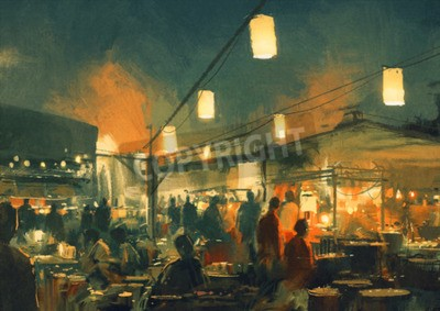 Canvas print crowd of people walking in the market at night,digital painting