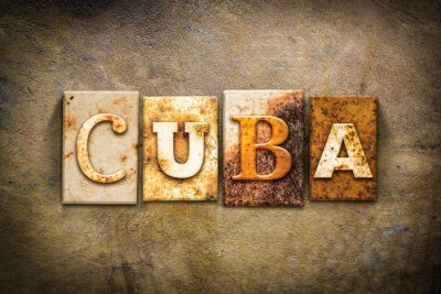 Canvas print Cuba Concept Letterpress Leather Theme