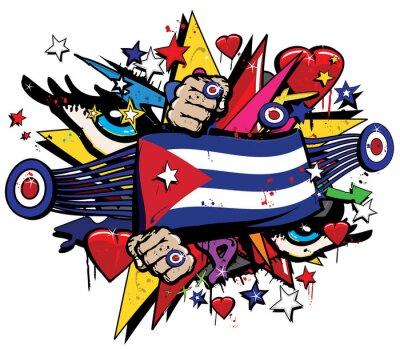 Canvas print Cuba flag Havana graffiti banner graff emblem street art streamer jack ensign colored cuban revolution graff vector spray