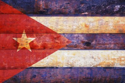 Canvas print Cuba flag in old wooden.