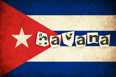 Canvas print Cuba grunge flag illustration of country with text
