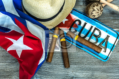 Canvas print Cuban concept table of some related items
