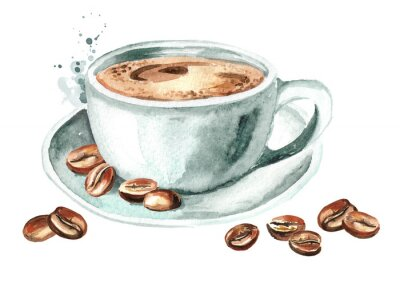 Canvas print Cup of morning coffee with coffee beans. Watercolor hand drawn illustration, isolated on white background