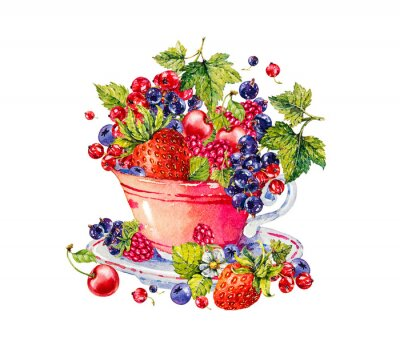 Cup with berries. Strawberry, raspberries, blueberries, black and red currant. Watercolor botanical hand drawn illustration. Mug