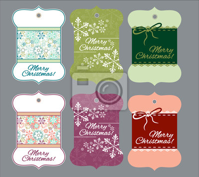 Canvas print Curly Christmas tags for gifts and things