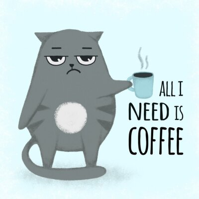 Canvas print Cute blue cartoon hand drawn cat with cup of coffee. Cat holding a cup.