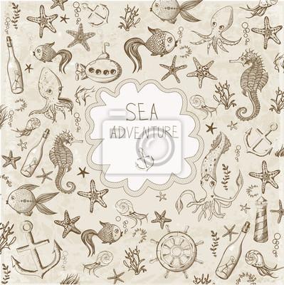 Canvas print Cute cartoon marine background