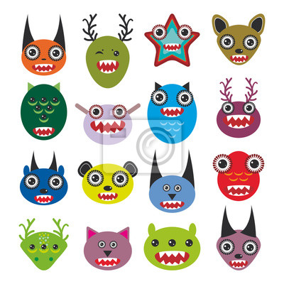 Cute cartoon Monsters Set. Big collection on white background. vector