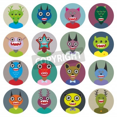 Cute cartoon Monsters Set. Big collection on white background. vector illustration