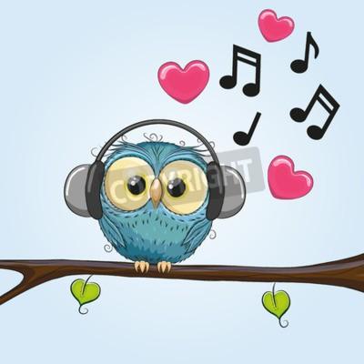 Canvas print Cute cartoon Owl with headphones