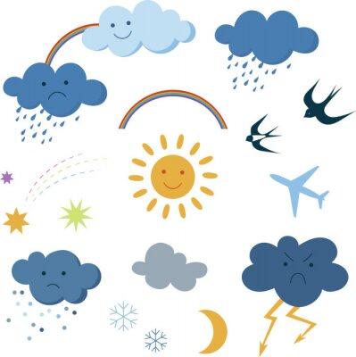 Cute cartoon sky objects weather symbols set clipart