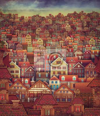 Canvas print Cute City Street Scene ,Many Houses