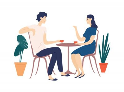 Canvas print Cute couple sitting at table, drinking tea or coffee and talking. Young funny man and woman at cafe on date. Dialog or conversation between romantic partners. Flat cartoon vector illustration.