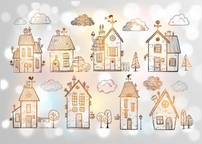 Cute doodle houses on white glowing background.
