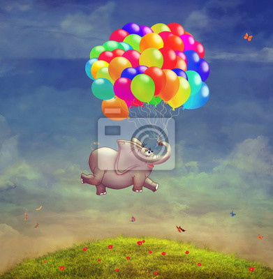 Canvas print Cute  illustration of a flying elephant with balloons in the sky