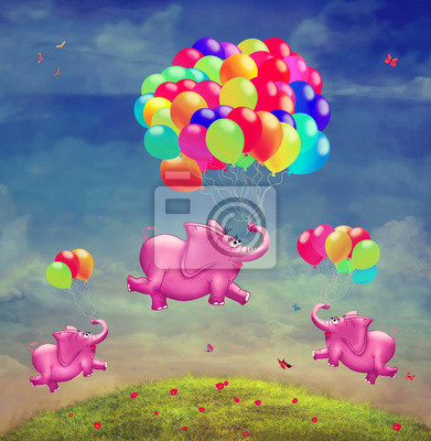 Canvas print Cute  illustration of  flying elephants with balloons in the sky