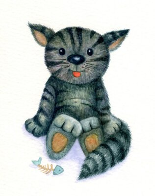 Canvas print Cute kitten, watercolor.