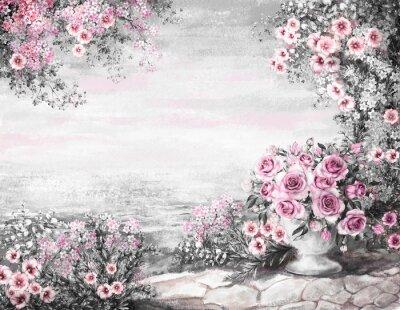 cute Oil Painting, summer on sea. gentle marine landscape. pink flower rose in vase and leaf. View on ocean. wallpaper. watercolor modern art.