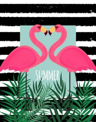 Canvas print Cute Pink Flamingo Summer Background Vector Illustration