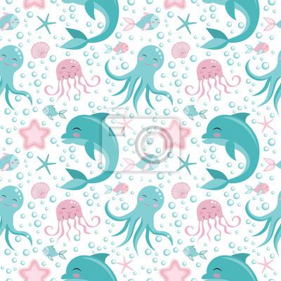 Cute seamless pattern with sea animals. Octopus, dolphin, jellyfish, shell, fish starfish Undersea world