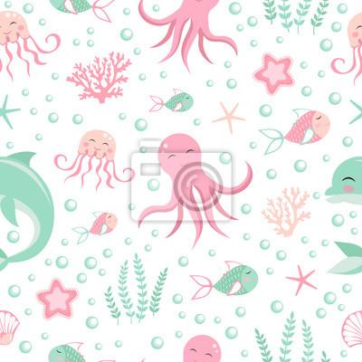 Cute seamless pattern with sea animals. Octopus, dolphin, jellyfish, shell, fish, starfish. Undersea world