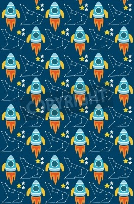 cute seamless space pattern design. vector illustration