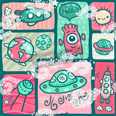 cute seamless Space pattern with alien monster, Earth globe, moon, spaceship, sun and planet Saturn