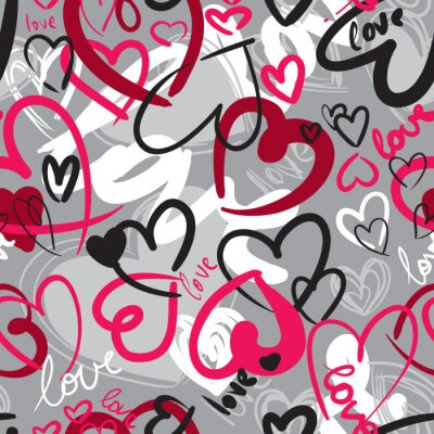 Canvas print Cute valentine's seamless pattern with hearts