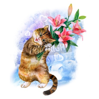 Canvas print Cute watercolor card with cat and flowers isolated on blue background with hearts. Lovely kitten with lilies. Ideal for  Valentin's day, Birthday, Wedding invitation poster. Beatiful spring bouqet.