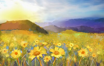 Canvas print Daisy flower blossom.Oil painting of a rural sunset