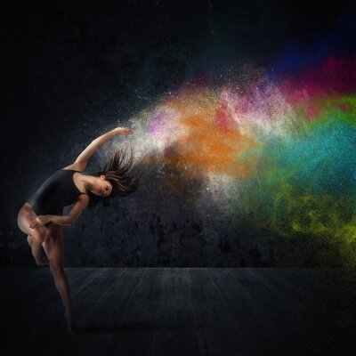 Canvas print Dance with colored pigments
