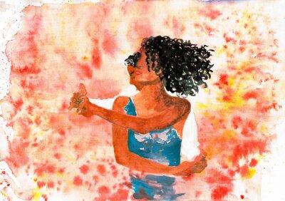 Canvas print Dancing couple. Watercolor illustration