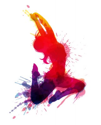 Canvas print Dancing girl with grungy splashes