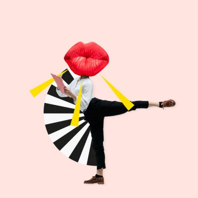 Canvas print Dancing office woman in classic suit like a ballet dancer headed by the big red female lips against trendy coral background. Negative space to insert your text. Modern design. Contemporary art collage