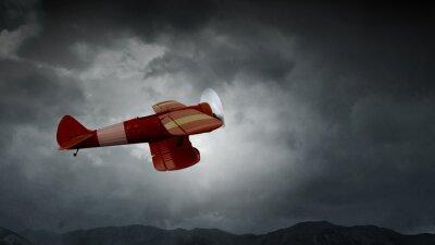 Canvas print Danger of airplane crash. Mixed media