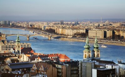 Canvas print Danube river in Budapest. Hungary