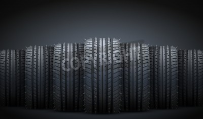 Canvas print Dark Background of Realistic rubber tires and spikes banner. Front view. Vector Illustration.