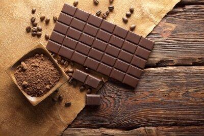 Canvas print Dark chocolate, cocoa and coffee grains