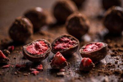 Canvas print Dark chocolate truffles