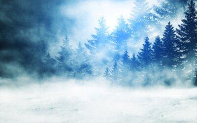Canvas print Dark winter forest background at night. Snow, fog, moonlight. Neon figure in the center