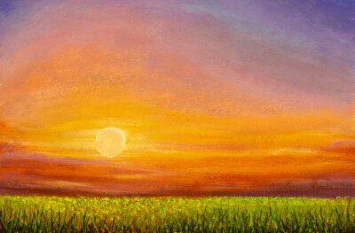 Dawn sunset over a green field - beautiful oil painting. Summer Russian landscape. The concept of farm, agriculture. Free space for text.